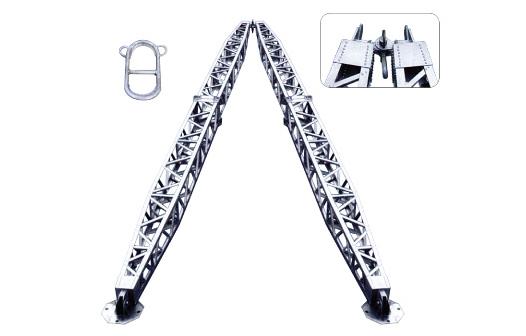 Aluminum alloy frame tubular A-shape gin pole